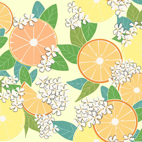 Oranges, Lemons, and, Grapefruits Half-Drop