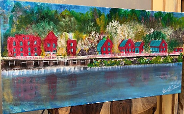 By the River  12x24 Acrylic on Gallery W