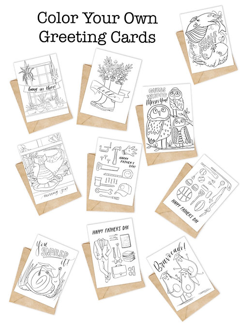 Color Your Own Greeting Card Pack