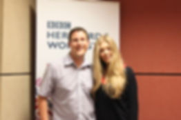 Andrew Marston with Becky Hill in the BBC studios