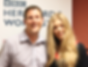 Andrew Marston with chart-topping discovery Becky Hill at the BBC studios
