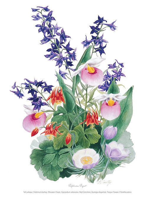 Wildflower Botanical Print - Delphinium Bouquet