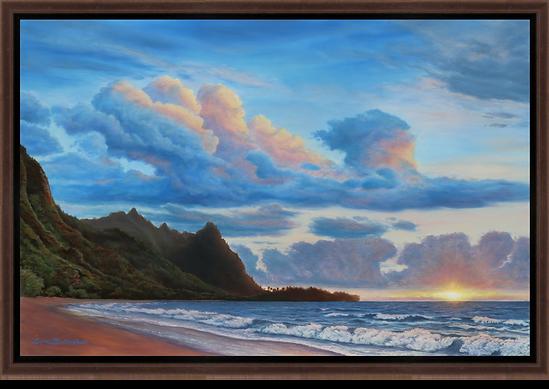 "Makua Sunset - 36"" x 24"" Original Oil Painting"