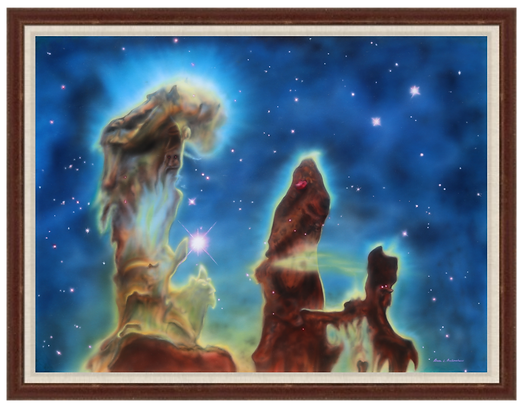"Pillars of Creation: Eagle Nebula - 40"" x 30"" Original Acrylic Painting"