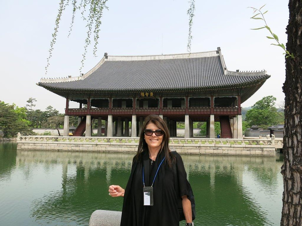 Me in front of a temple in Seoul, South Korea.