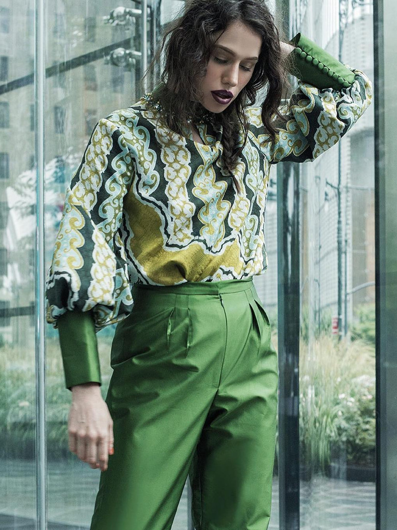 Green Blouse & Pants-Coreta louis-NYFW S