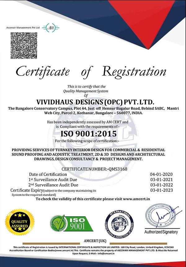 ISO 9001:2015 Certificate Vividhaus Designs (O) Pvt Ltd