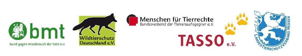 Wildtierschutz Deutschland im Bündnis mit bmt, Menschen für Tierrechte, Tasso, Landestierschutzverband Hessen