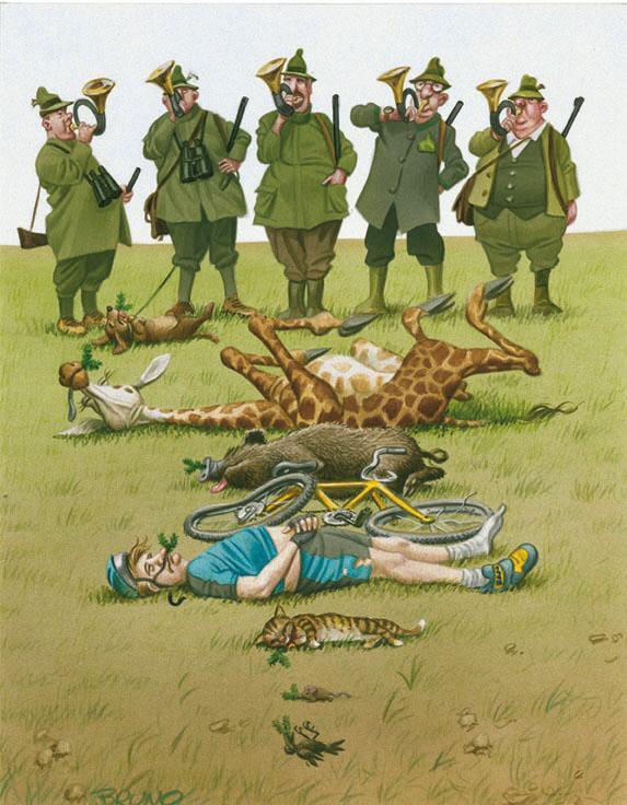 Karikatur Jagd Jäger Haberzettel