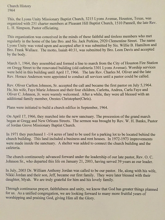 Lyons Unity Church History