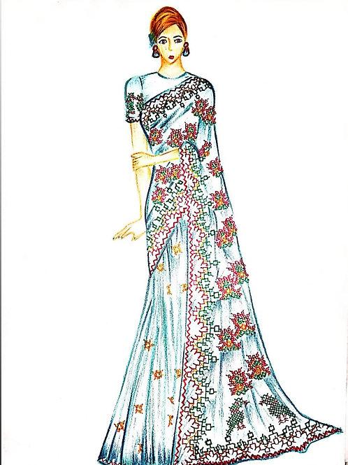 """ Kasuti Embroidered Sarre Design"