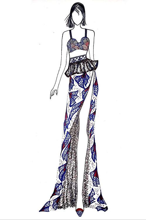 Western Chic Side Slit designer printed skirt