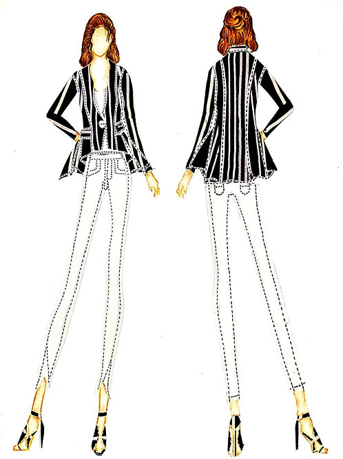 Asymmetrical stripped Crepe Top along Patch pockets matched with White Denim