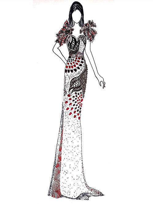 Printed-Textured fabric design