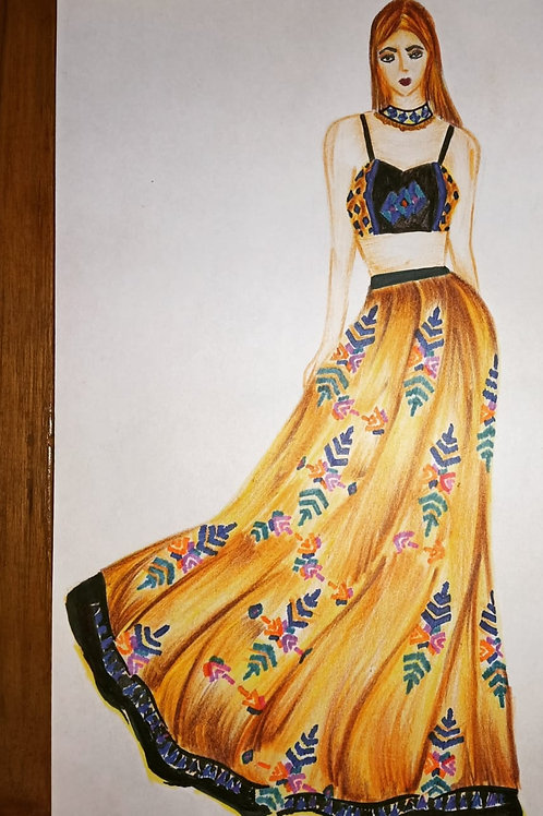 """"""" Indo-Western styled Phulkari Embroidered outfit """""""