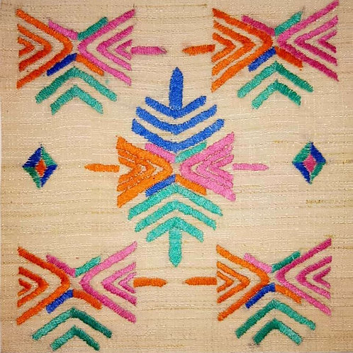 "Phulkari Hand Embroidered Design on Khadi """