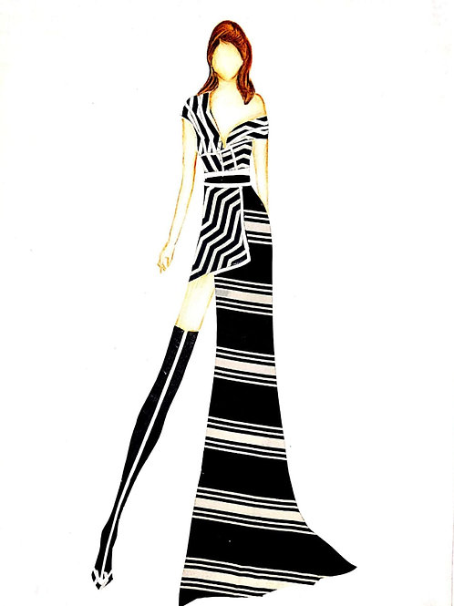 Chic Western Striped Dress Illustration