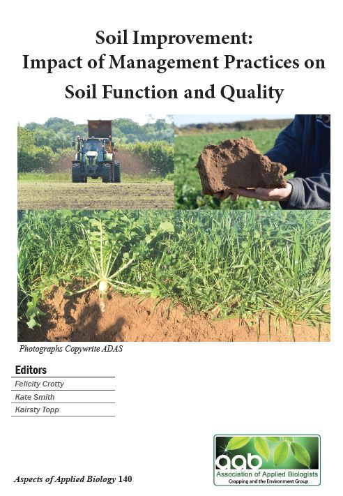 Aspects 140: Soil Improvement: Impact of Management Practices on Soil Function