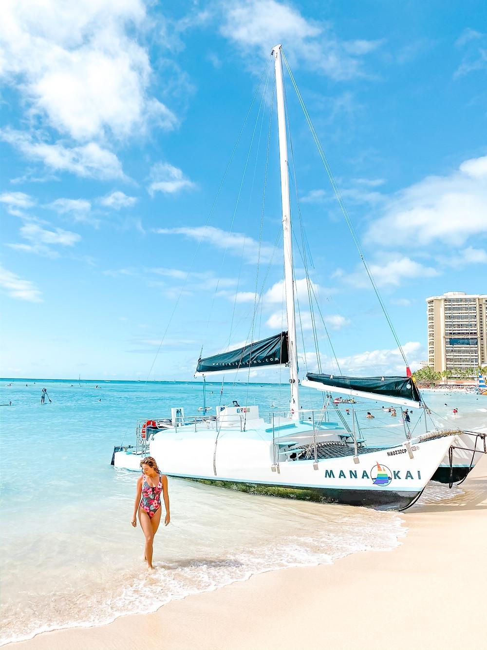 Waikiki beach with boat
