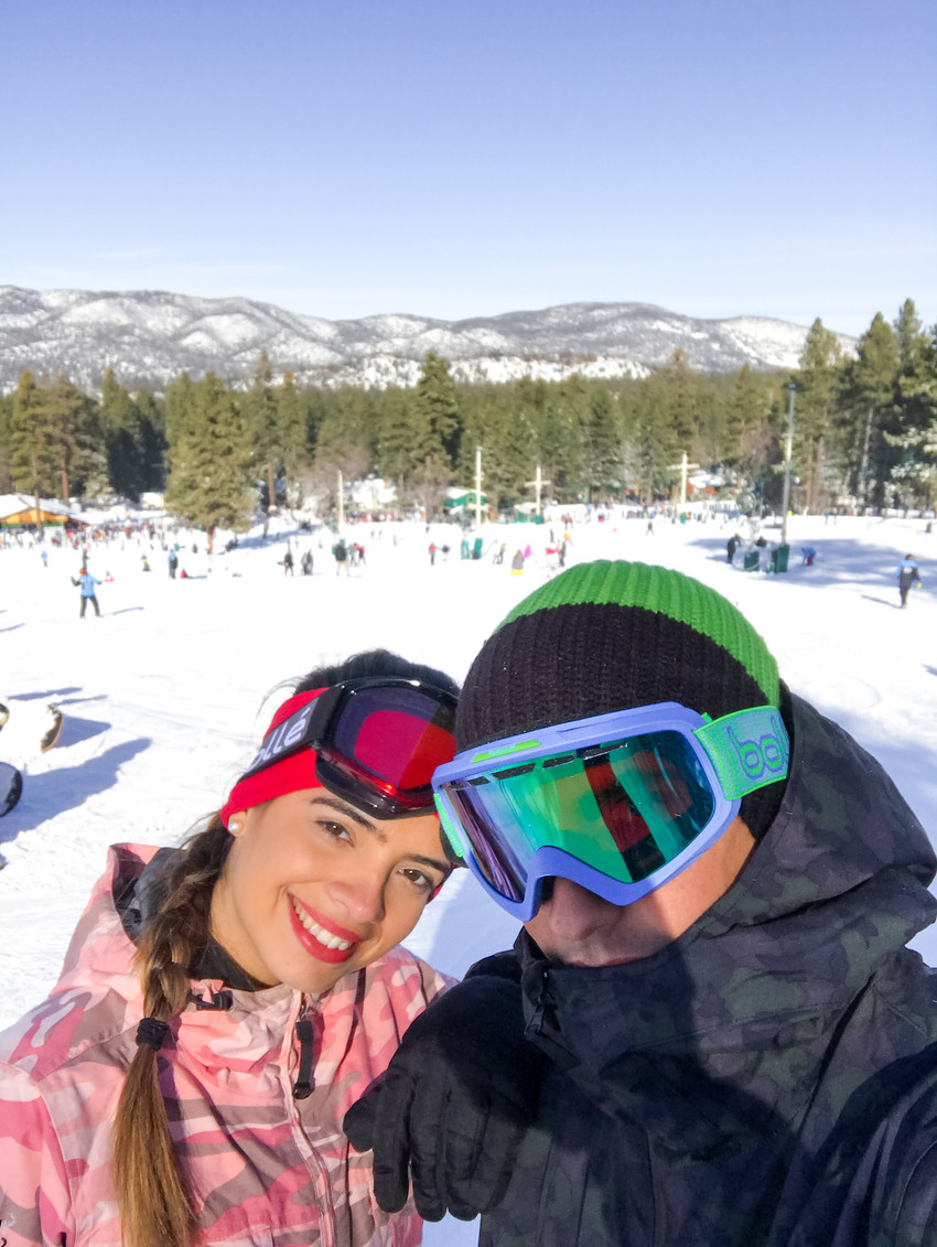 couple at top of mountain in Big Bear