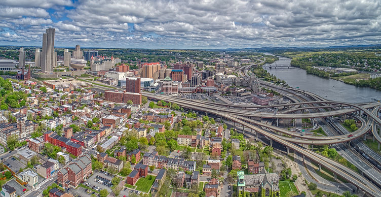 Aerial View of the City Albany, Capitol