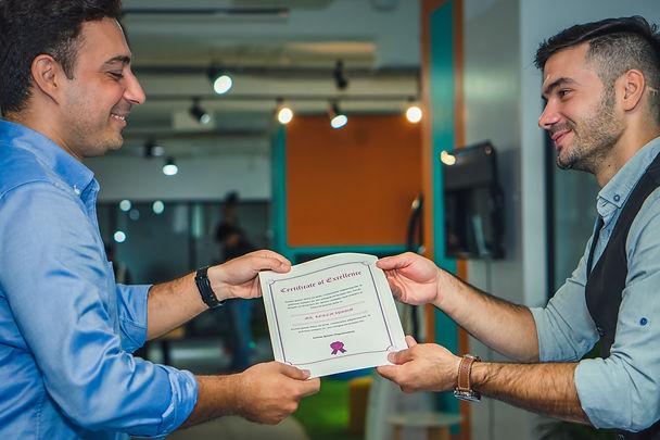 handing a certificate