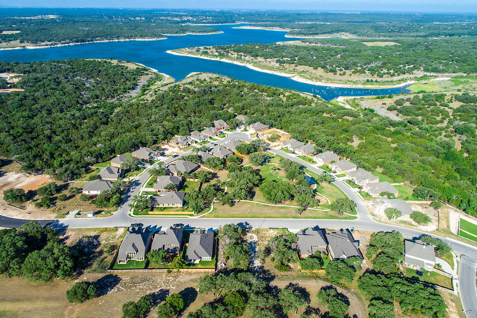 Aerial drone view above Real estate deve