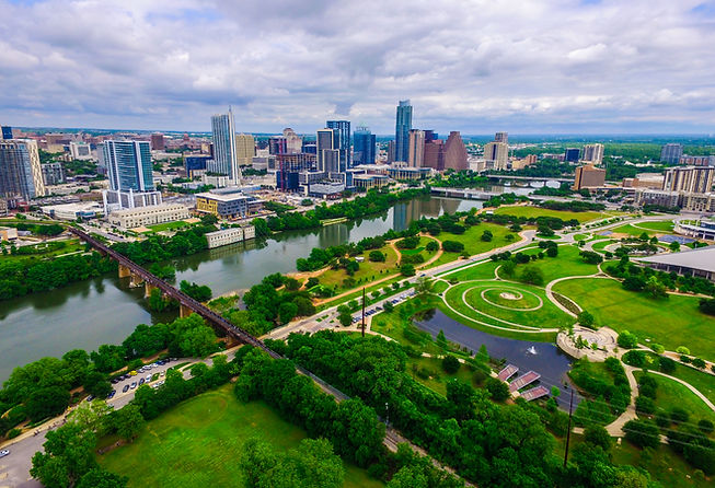 Aerial Over Austin Texas spring time col