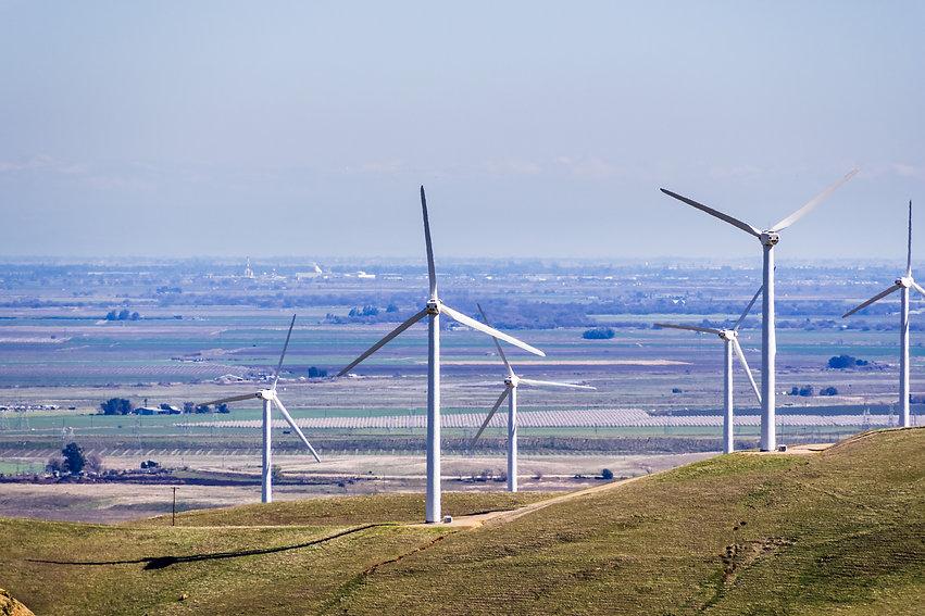 Wind turbines on the hills of east San F