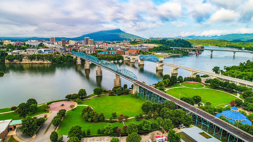 Drone Aerial of Downtown Chattanooga TN