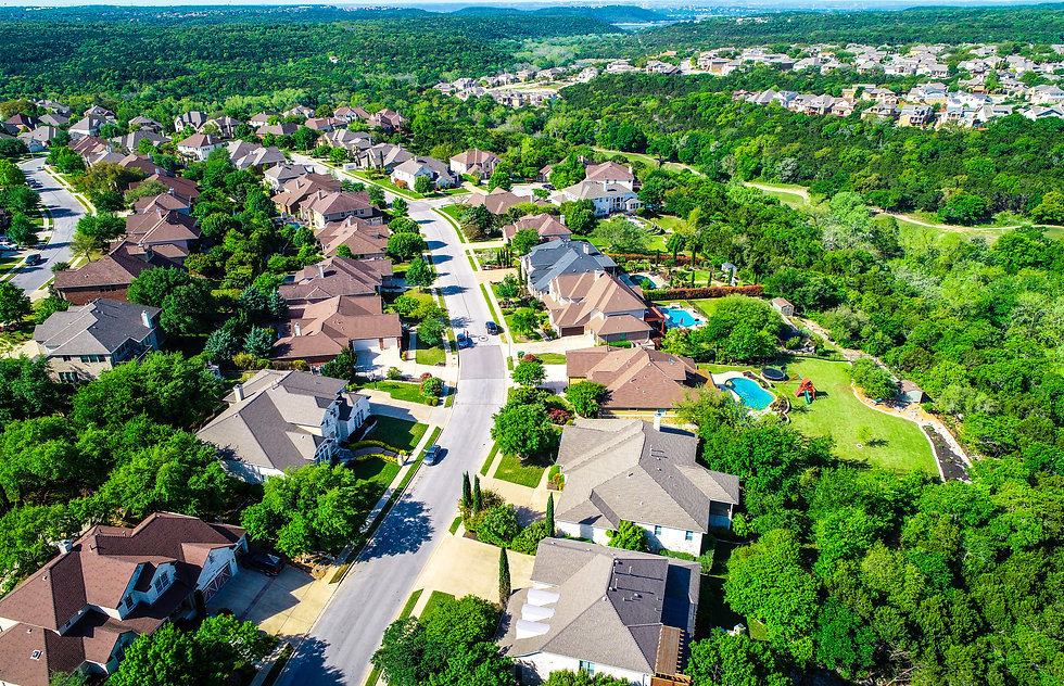 Aerial drone view above Curved road with