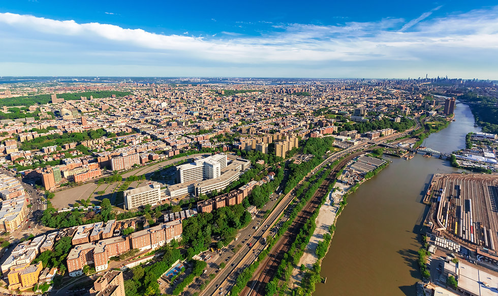 Aerial view of the Bronx, New York City.