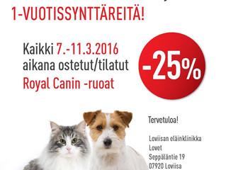Kaikki Royal-Canin-ruoat -25%   7-11.3.2016