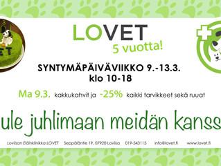 Tervetuloa LOVETin 5 vuotis Synnttäreille!