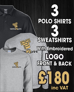 3 x Polos, 3 x Sweatshirts with Embroidrered LOGO on Front & Rear
