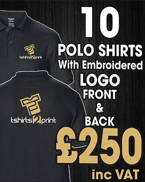 10 Polos with Embroidrered LOGO on Front & Back