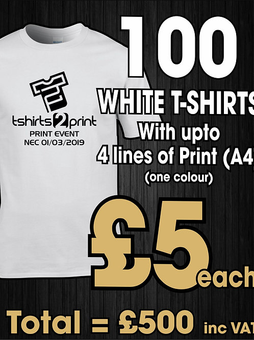 100 x WHITE T-Shirts with ONE colour PRINT one side