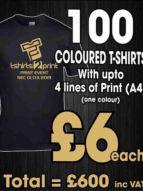 100 x COLOURED T-Shirts with ONE colour PRINT one side
