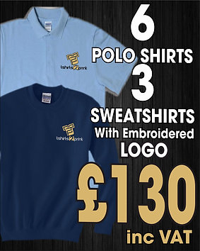 6 x Polos, 3 x Sweatshirts with Embroidrered LOGO