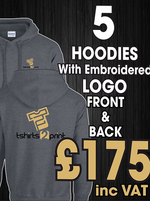 5 Hoodies with Embroidrered LOGO on Front & Back