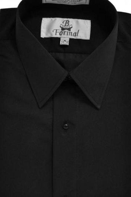 Black Microfiber Laydown Collar Shirt