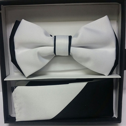 White & Black Bow Tie Set