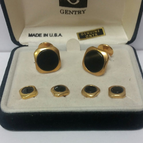 Black and Gold Stud & Cuff link Set