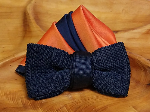 Navy Knit Bow Tie Set