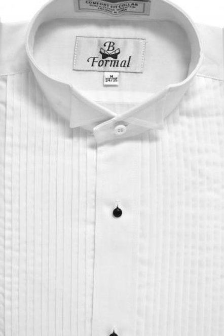 White Pleated Wingtip Shirt
