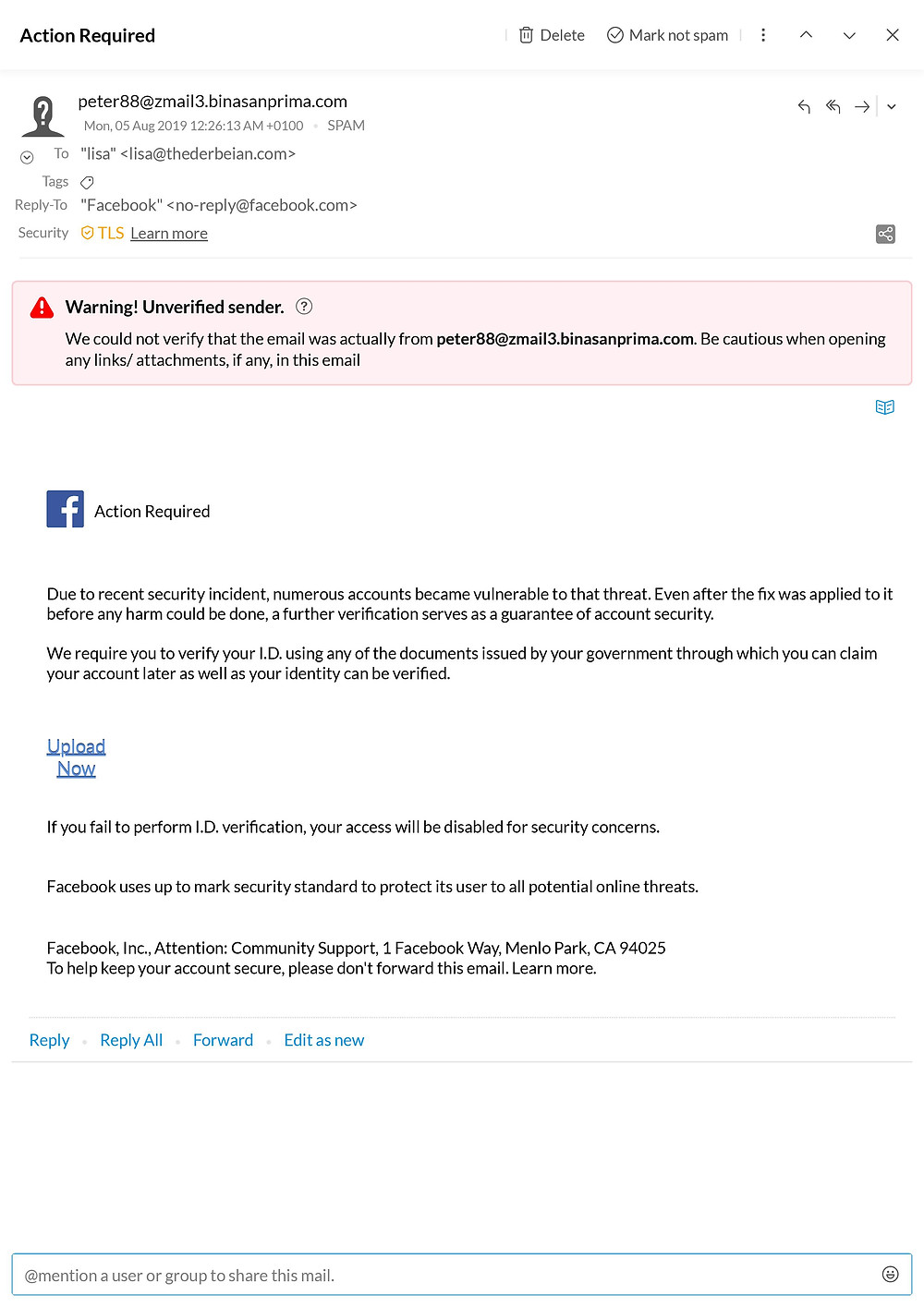 Check out the email address for a start this is not a uniform Facebook email address and in fact belong to a company based in Java