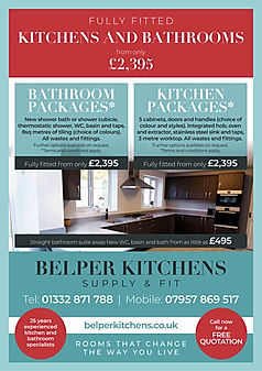 Advert for Belper Kitchens, a bespoke kitchen and bathroom fitting service
