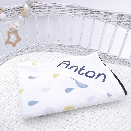 Handmade Babydecke nach Wahl personalisierbar mit Name Wolken lillegroen