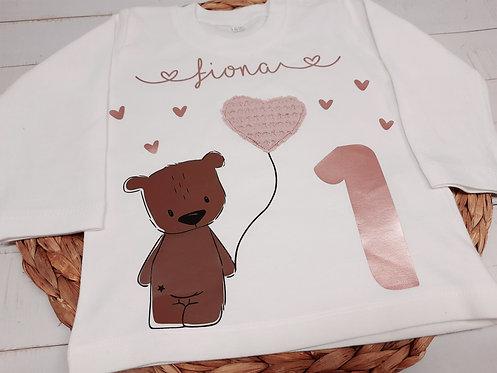 Geburtstags-Shirt Langarm nach Wahl z.B. Bär rosé, ab
