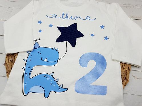 Handmade Geburtstagsshirt Langarm Dino mit Name und Zahl personalisierbar Geschenk Geburtstag Junge Mädchen Baby